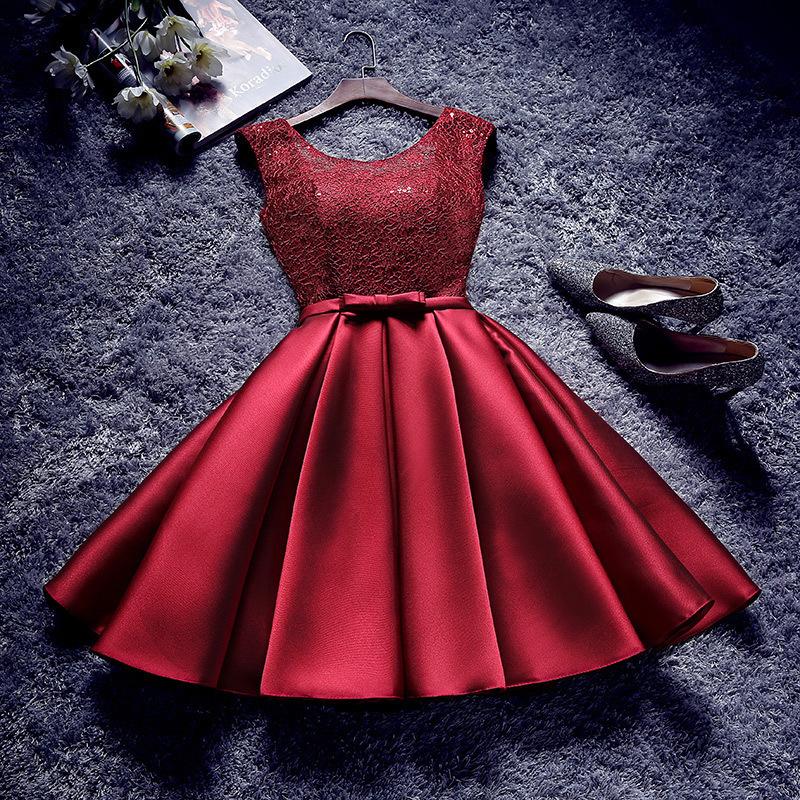 2017新款敬酒服新娘红色显瘦短款晚礼服结婚回门连衣裙年会小礼服