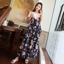 Pregnant women summer dress fashion short-sleeved suit long shirt cotton 2018 new maternity spring and summer