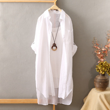 Short before long sunscreen shirt female long-sleeved long section Korean version of the loose sun shirt shirt spring and summer thin coat female