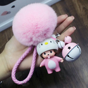 The new cute cartoon plush ball Kiki Car Keychain ring chain bell hanging bag creative men and women lovers