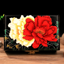 Lacquer Wooden Gift Box Retro jewelry box jewelry box manual peony - Pingyao push light
