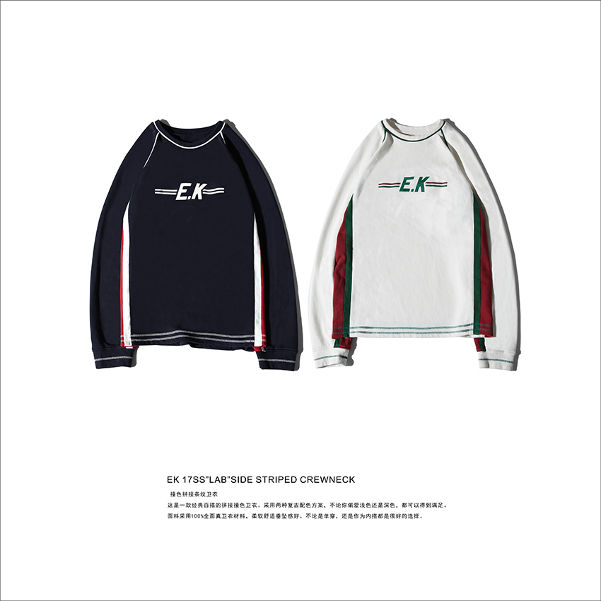 "EK 17SS "" LAB&rdquo Side; Striped Crewneck color mosaic striped sweater"