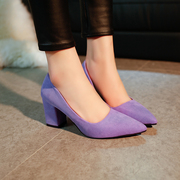 P spring and Autumn Edition, with heel, pointed, single shoes, professional women shoes, light mouth, thin, high, purple, ladies, wedding shoes