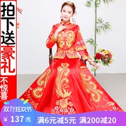 Xiu wo clothing Winter bridal gown 2017 new chinese wedding dress dragon and Phoenix coat wedding Toast Dress