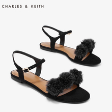CHARLES & KEITH spring and summer ladies sandals CK1-70920033 word buckle with hair ball flat shoes