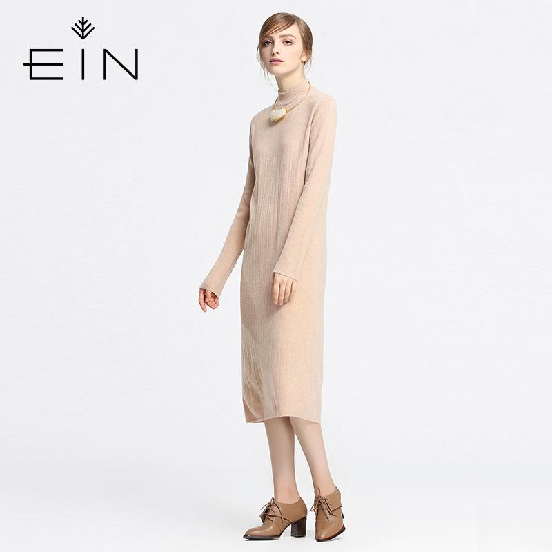 EIN/言水洗花式半高领羊毛针织连衣裙春装中长款2017新