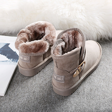 Global 2017 new short canister boots with thick warm winter female Korean cashmere boots shoes female female students