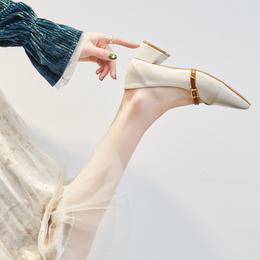 玛丽珍鞋女尖头粗跟一字扣单鞋女中跟2018春季韩版百搭浅口奶奶鞋