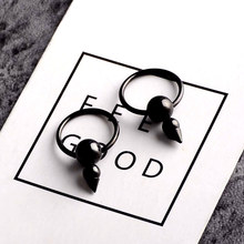 Hip hop street fashion trendsetter personality Earrings male punk Ear Ring Earrings Black cone type titanium jewelry single ear