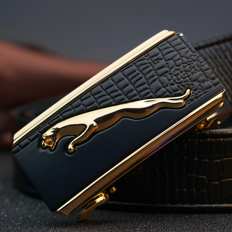 Jaguar head belt, leather automatic buckle belt, young middle-aged pure cowhide, simple commercial fashion crocodile pattern