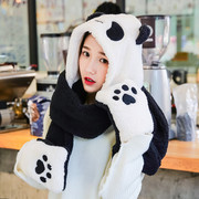 Students winter hat scarf glove three piece suit collar female one of the children's lovely thick Korean parent