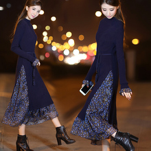 2017 new women's winter long dress female slim slim long sleeved knit skirt floral sleeve dress