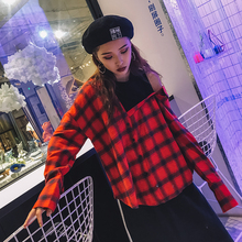 South Korea ulzzang BF all-match Harajuku wind asymmetry Strapless Plaid Shirt two pieces of mosaic fake female students