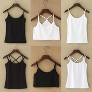 Small vest female sexy cotton short summer wear in a simple all-match render black white blouse
