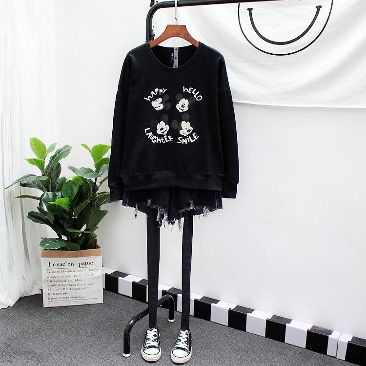 艾伊格秋季女装短外套卡通卫衣女宽松休闲运动韩版学生套头上衣潮
