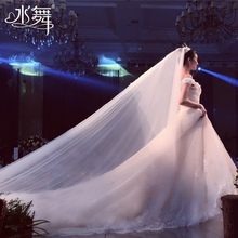 Water Dance Bride White 3-meter Bride Headdress Double-layer Tail Wedding Headdress Gloss Accessory R0136