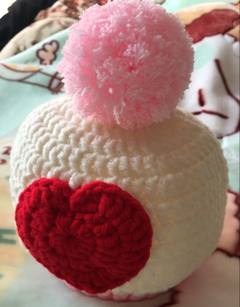 Winter heating pure hand knitted big ball ball love child hat