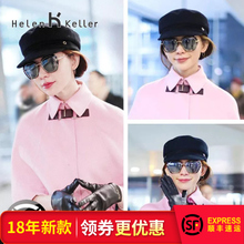 Helen Keller polarized sunglasses women's tide round face star with the same paragraph sunglasses female 2018 new face myopia 8718