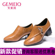 Gemei 2017 autumn new British style leisure shoes with thick shoes with students deep high-heeled shoes