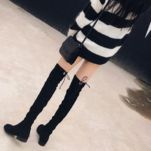2017 new all-match Korean female dative winter boots with low thin elastic knee boots boots boots a woman