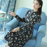 2017 spring and autumn women floral dress Korean version was thin large loose long sleeves chiffon inside take a long skirt