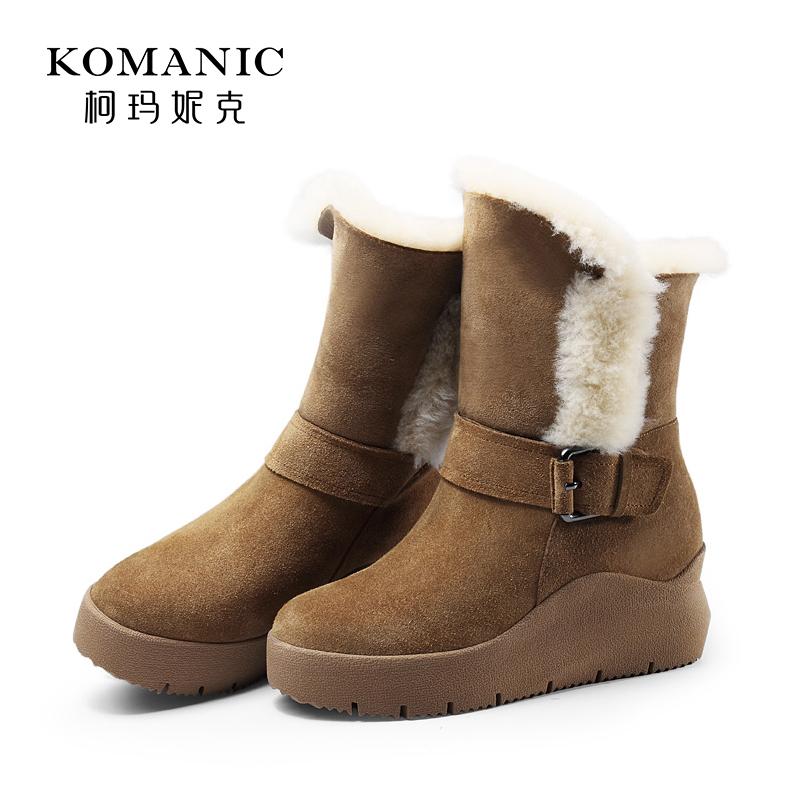 柯玛妮克 冬季磨砂皮毛一体女靴 休闲棉靴厚底中筒靴雪地靴女