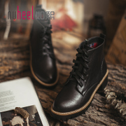 Like Mount Martin boots 2017 autumn winter boots with thick boots with new female British style single round boots shoes