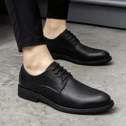 Summer business casual shoes leather lace dress Korean male British round black youth shoes for men