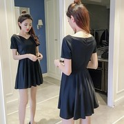 The new summer 2017 han edition of temperament women cultivate one's morality short sleeve Hepburn little black dress big slim a-line dress code