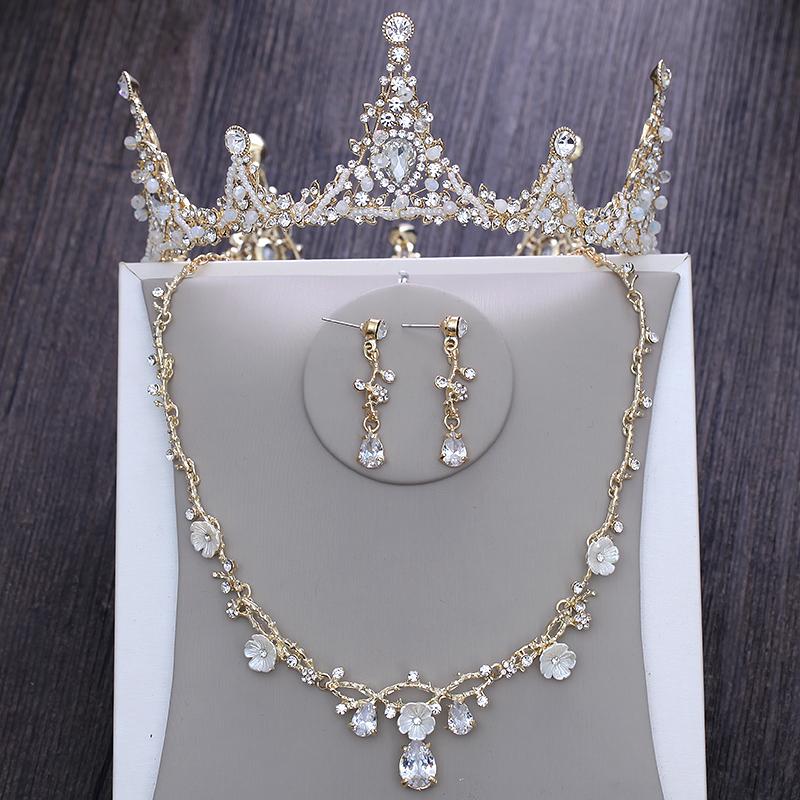 新娘头饰王冠结婚大皇冠三件套金色项链耳环婚纱礼服配饰韩式造型