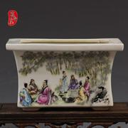The pastel bamboo grove goat antique ceramic flowerpot Kaitai antique porcelain old goods pendulum