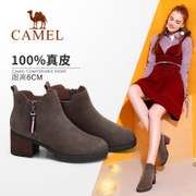 The camel shoes 2017 new winter boots with thick suede nubuck leather female British all-match short canister boots