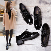 Autumn and winter the New England Retro Black Patent Leather shoes all-match Korean small shoes female student flat shoes