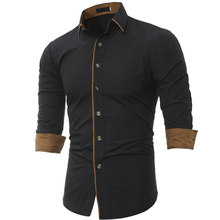 2017 New Long Men Shirts Men s Slim Fit Sleeve Clothes (Shirt)