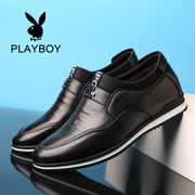 Men's business casual male leather terminal layer of leather round soft bottom shoes increased dandy