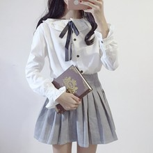 Korean fan all-match leisure pin bow college wind falbala collar students sweet long sleeved white shirt female backing