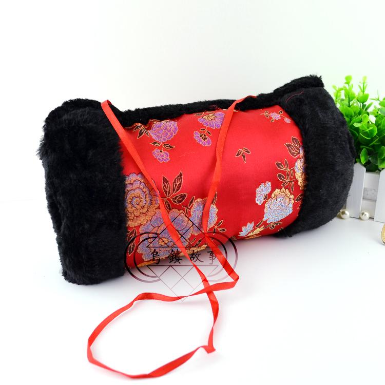 两件包邮绸缎毛绒暖手套插手保暖护手宝加厚水貂毛抱枕缎面暖手筒