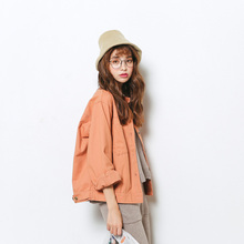 2017 new spring coat fashion female short Korean students in the spring and autumn all-match loose leisure BF thin frock