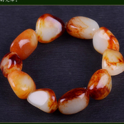 Xinjiang hetian jade bracelets green jade auction former Qin seed material red bracelets for men and women is coming to an end