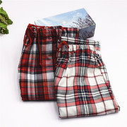 Special offer single cotton double gauze female the trousers pants pants pants Plaid Home Furnishing spring air conditioning