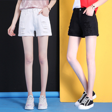 Chic denim shorts female summer 2018 new Korean loose students wild super thin high waist a word hot pants
