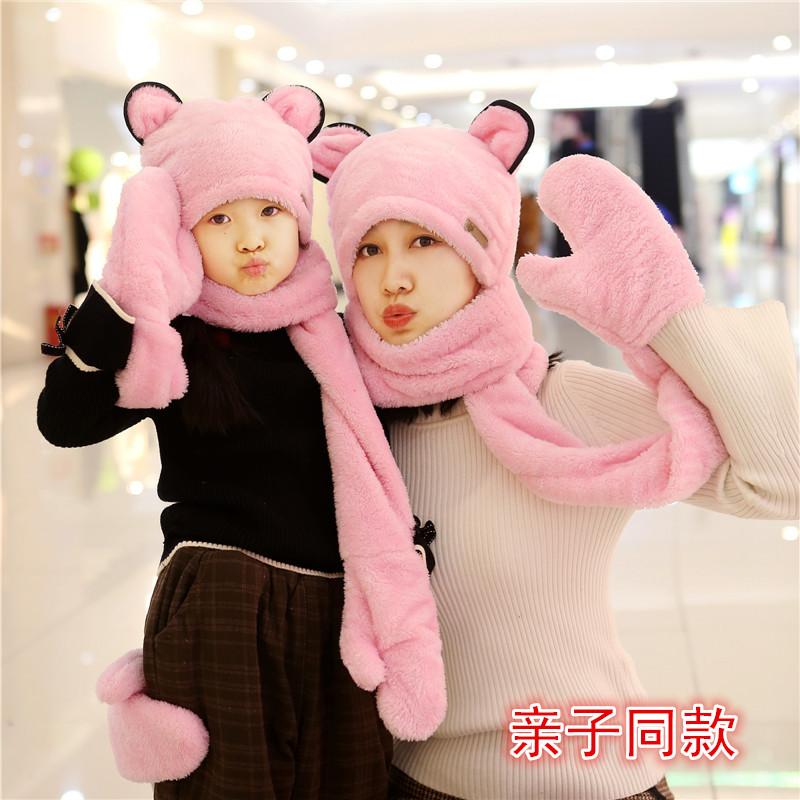 儿童帽子围脖手套三件套亲子冬季加厚男女童宝宝帽子围巾套装一体