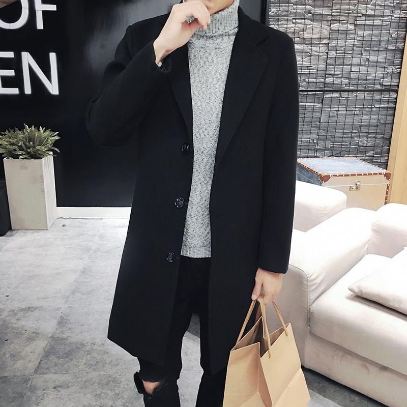 2017新款风衣秋冬韩版潮流帅气中长款风衣男呢子加厚披风外套男潮