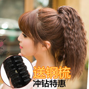Claw clip wig short corn must be hot ponytail female fluffy real pear grip type false long tail hair