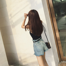 cheeseY denim shorts female summer 2018 new Korean students hot pants burrs bf loose high waist shorts