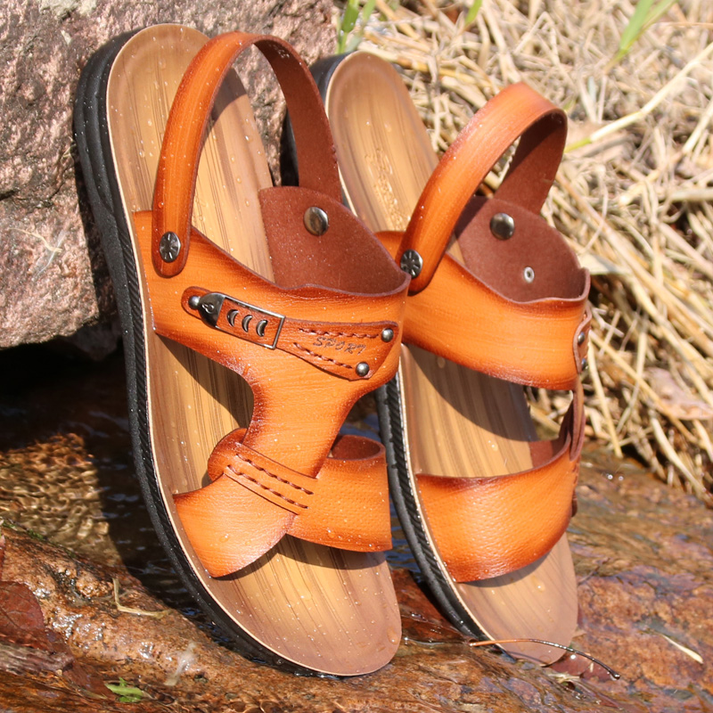The new summer men's sandals men's sandals leather beach shoes casual shoes size 45 summer cool summer men's shoes