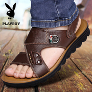 Playboy new Summer men's sandals leather beach shoes breathable casual cowhide anti-slip dew toe cool Tow Man