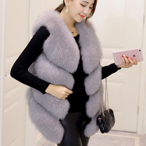 Autumn and winter imitation fox fur fur vest in the length of female stitching rabbit vest large size was thin waistcoat Slim