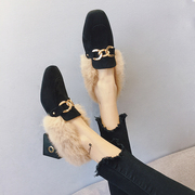 Maomao shoes autumn and winter 2017 new plus cashmere girls high heels Korean version of the wild with Waichuan social Peas shoes