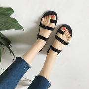 Summer the new flat with Rome set toe flat leisure cross strap sandals female student summer joker in Europe and the shoes